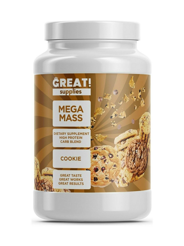 Гейнер Mega Mass вкус Печенье от Great Supplies 2000гр, 20 порций купить банку