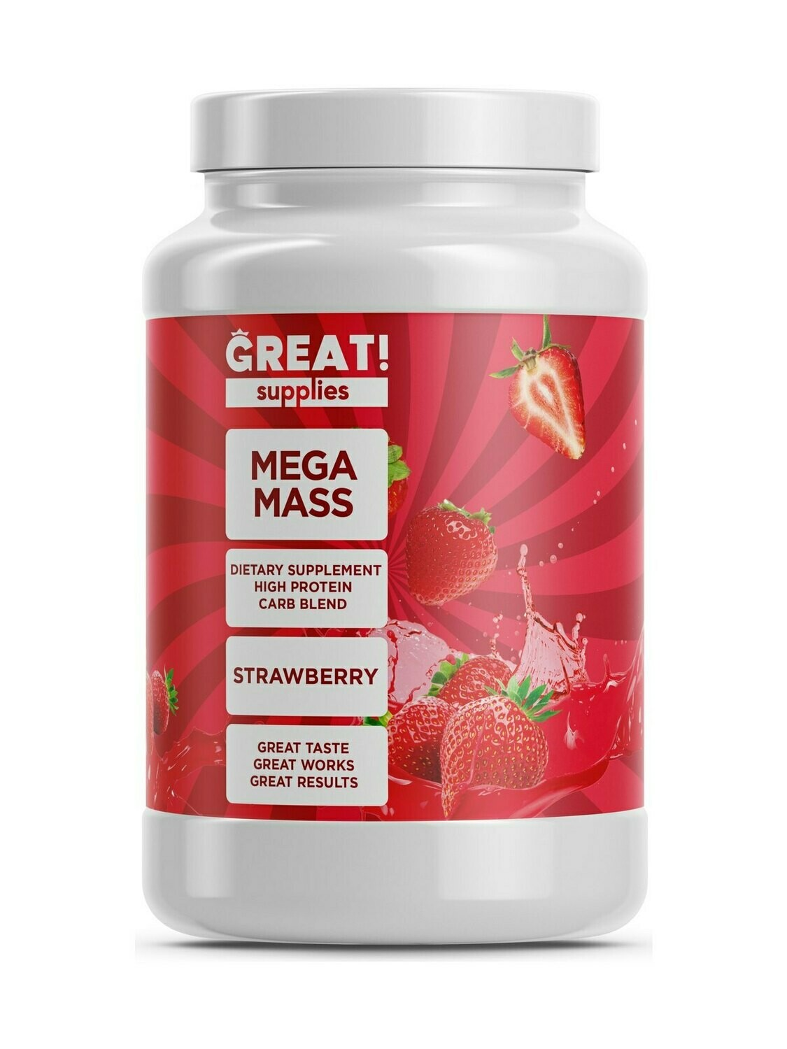 Гейнер Mega Mass вкус Клубника от Great Supplies 2000гр, 20 порций купить банку