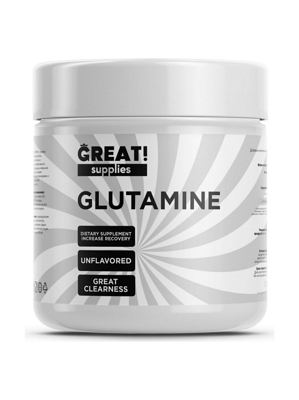 Глутамин от Great Supplies Glutamine 300гр, 60 порций купить банку глютамина