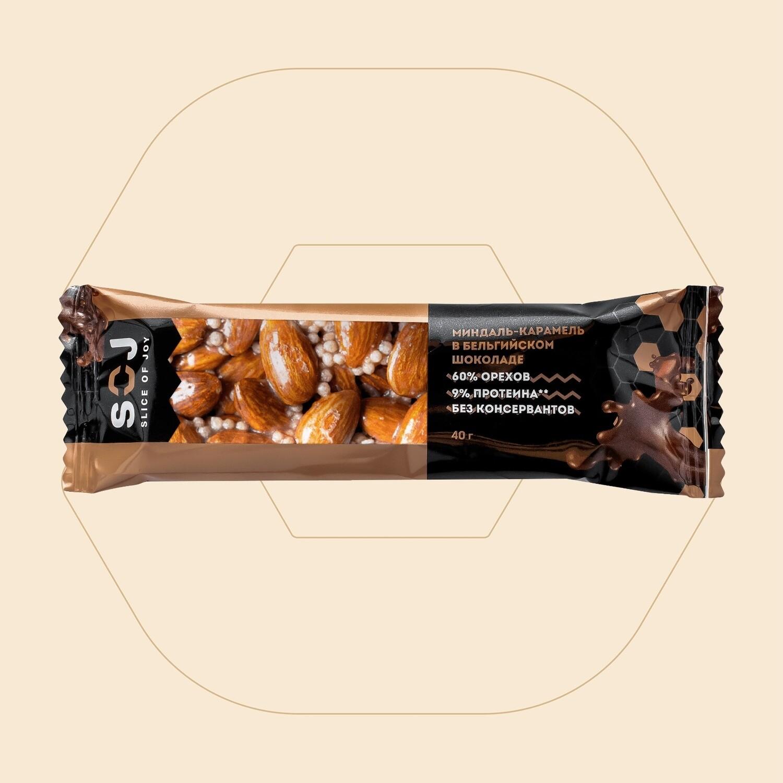 Ореховый батончик со сливочно-карамельным вкусом «Миндаль-карамель» Slice of Joy SOJ купить