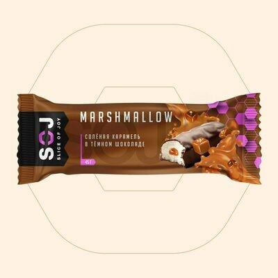 MARSHMALLOW батончик SOJ с соленой карамелью в темном шоколаде купить