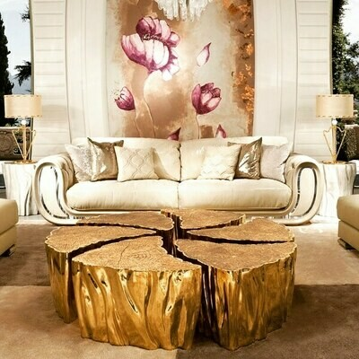 Tree trunk gold coffee table