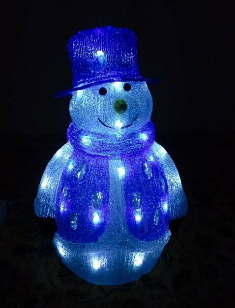 Акриловая светодиодная фигура Снеговик 40см