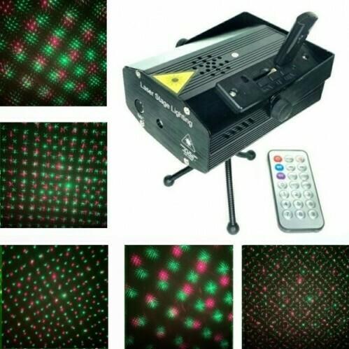 Лазерный проектор Mini Laser Stage Lighting с д/у и USB, звезды