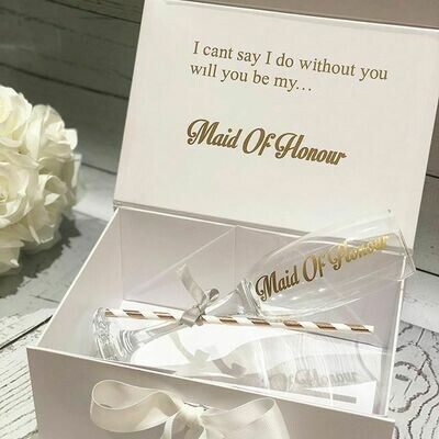 OFFER Personalised Wedding Proposal Box FREE champagne Flute