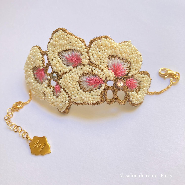 Bracelet -Alice- Perles Vintage écru & rose