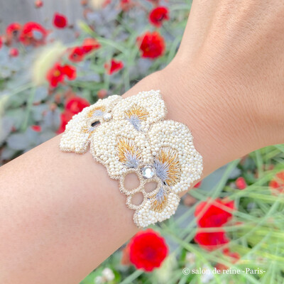 Bracelet -Alice-    écru & argent
