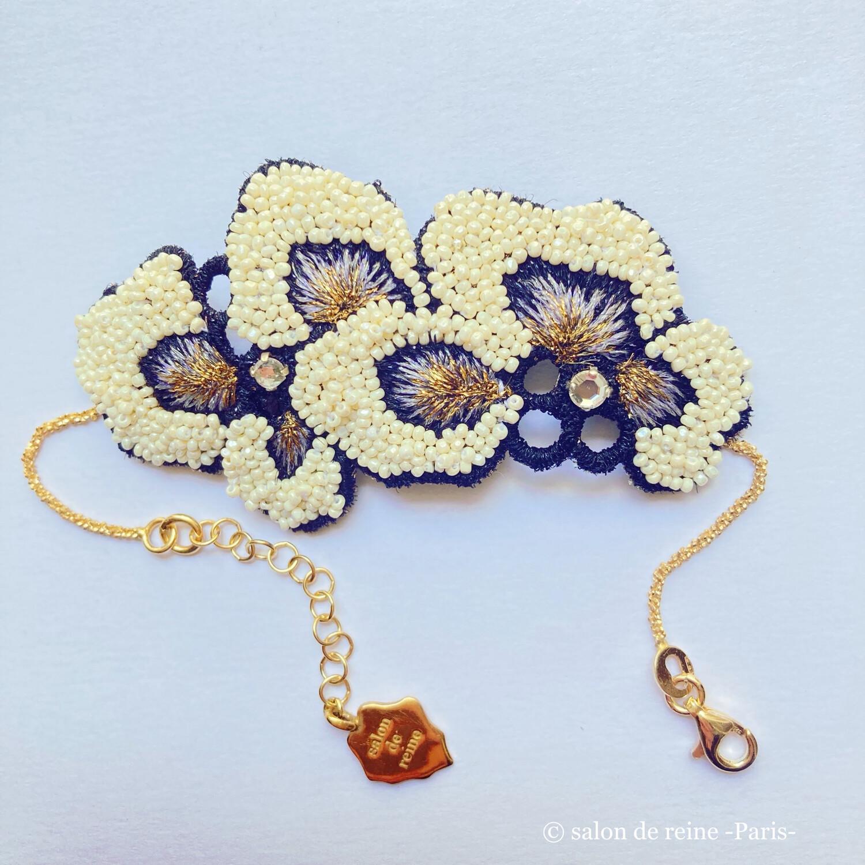 Bracelet -Alice- écru & violet