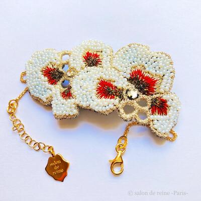 Bracelet -Alice- Perles Vintage  rouge & bronze