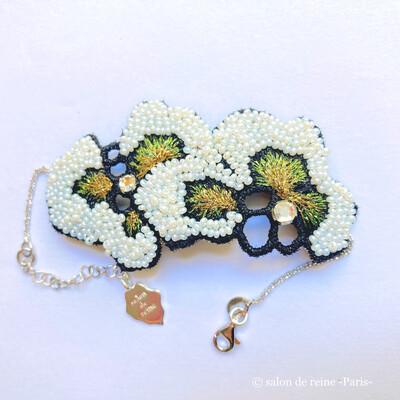 Bracelet -Alice- Perles Vintage vert & or jaune
