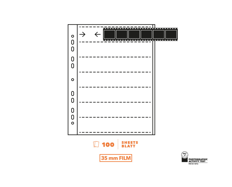 Peva negative sleeves Glassine 135 (24x36 mm), 25 sheets