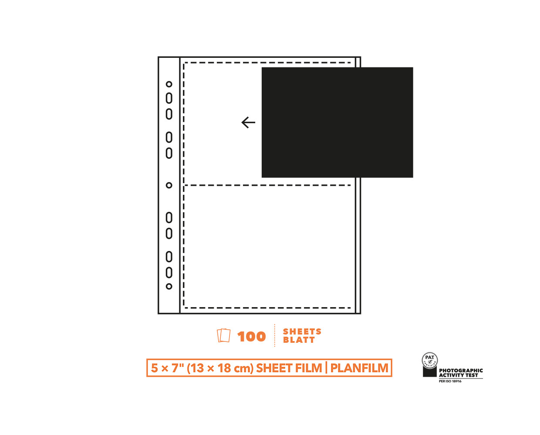 Pergamin Negativhüllen 13x18cm (5x7') Planfilm 100 Blatt