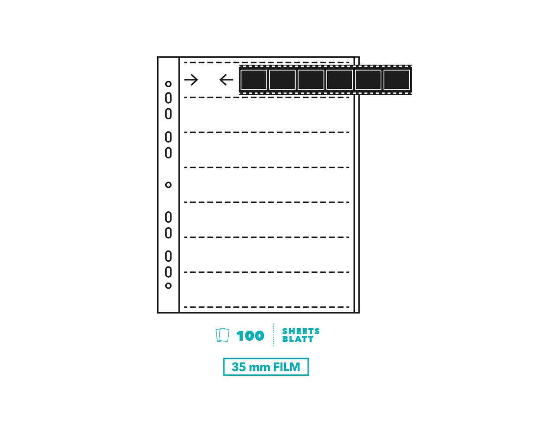 Peva acetate negative sleeves for 35mm film - 100 sheets
