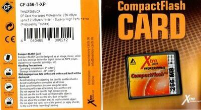 256MB Toshiba CompactFlash Karte Xtra Speed produced by Toshiba