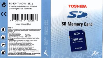 128MB Toshiba SD  Memory Card produced by Toshiba