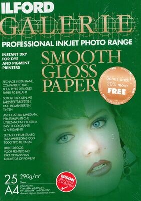 Ilford Galerie A4 290gsm Professional Inkjet Paper - Classic Gloss - 25+5 sheets