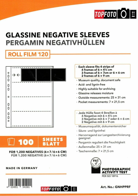 Peva Pergamin negative sleeves for 120 roll film (6x6 / 6x7) 100 sheets