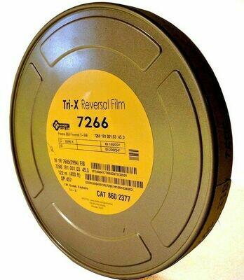 Kodak Tri-X Black-and-White Reversal Film #7266 (16mm, 122m Roll, Single Perf)