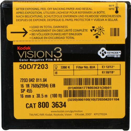 Kodak VISION3 50D Color Negative Film 7203 (16mm, 30.5m Roll, Single Perf)