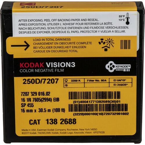 Kodak VISION3 250 D Color Negative Film 7207 (16mm, 30.5m Roll)