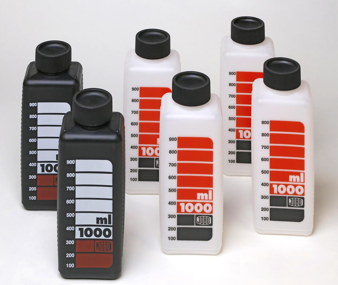 JOBO 3300  Skalenflasche 1.000ml 4x weiss und 2x schwarz