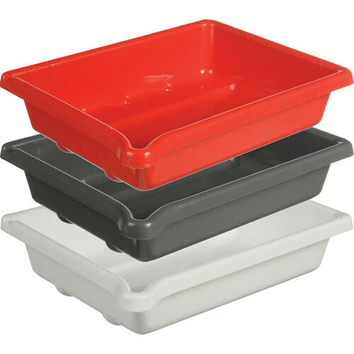 """Paterson Set 3 laboratory trays 18x24cm for paper size 13x18cm (5x7"""") white, red and grey"""
