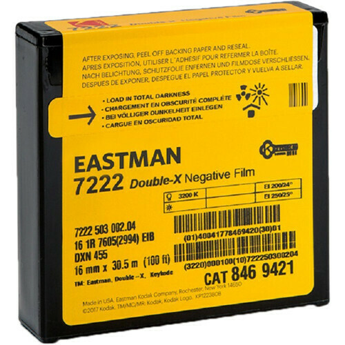 Kodak Eastman Double-X 7222 16 mm, 30.5 Meter - 16 mm Schwarz-Weiss Negativ