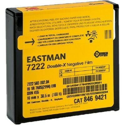 Kodak Eastman Double-X Black-and-White Negative Film 7222 (16mm, 30.5m Roll, Single Perf