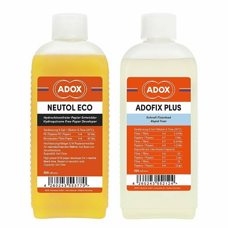 Kit of 1 X ADOX NEUTOL ECO 500 ml concentrate + ADOX ADOFIX Plus express fixer 500 ml concentrate
