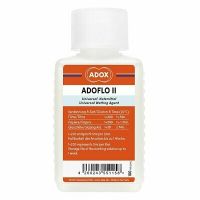 ADOX ADOFLO II Wetting Agent 100 ml Concentrate (Replacement for Kodak Photo-Flo)