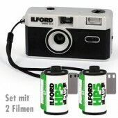 Ilford Sprite 35-II Film Camera (Black & Silver) with 2 films
