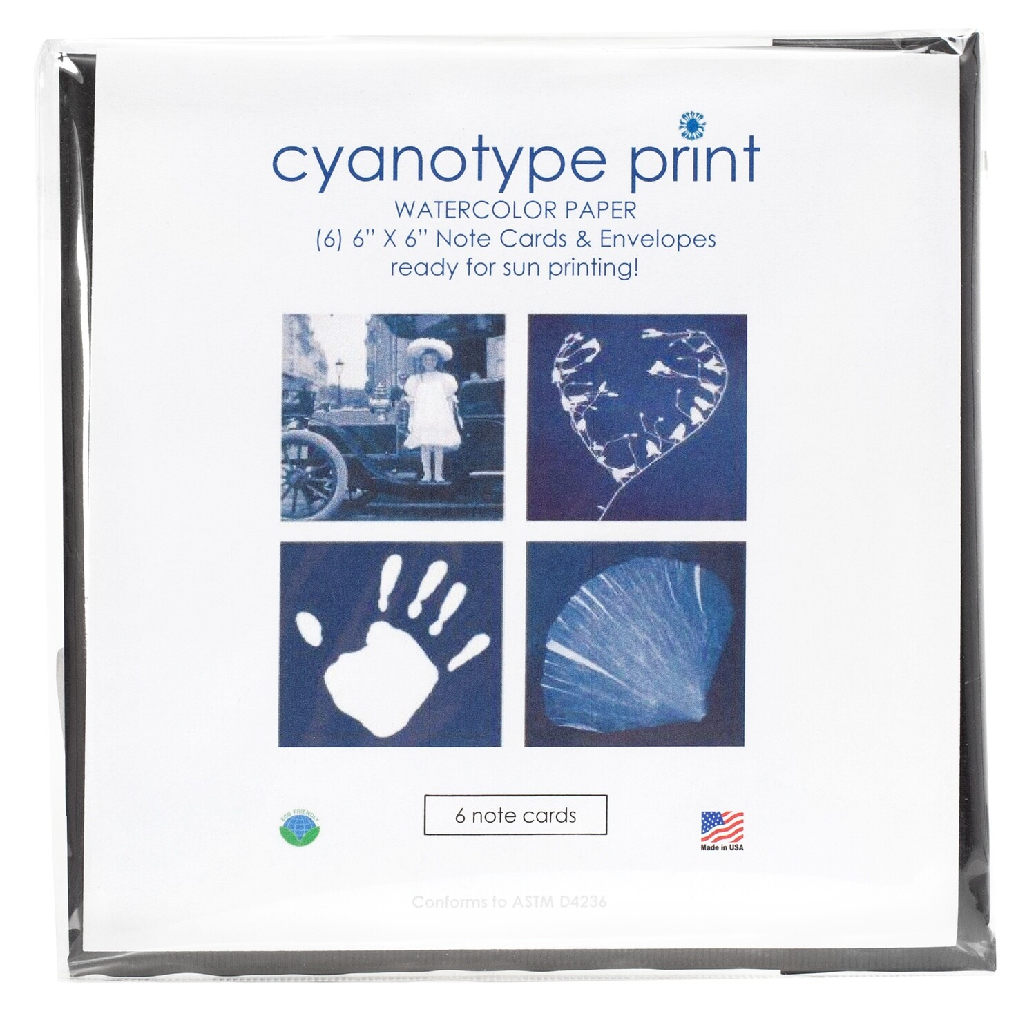 Blue Sunprints - Cyanotype Store Cyanotype Paper Greeting card set 15x15 cm 6 sheets + 6 envelopes