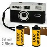 Ilford Sprite 35-II Film Camera (Black & Silver) with with 2 colour films