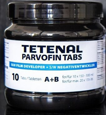 TETENAL Parvofin tabs- 10 tablets Part A and Part B Art. No. 105500 - For a maximum of 3 litres black and white negative developer. Capacity: max. 20 films 135-36
