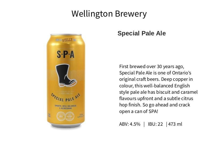 Wellington Breweries: Special Pale Ale