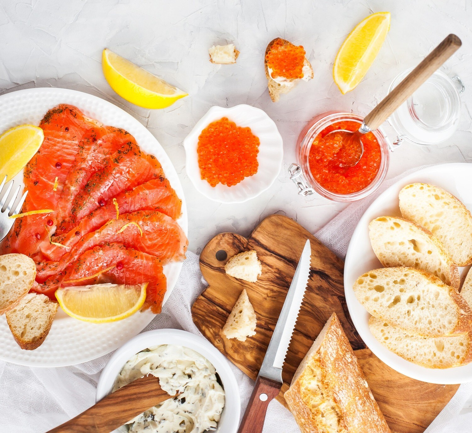 Smoked Salmon, Caviar and Cheese Platter