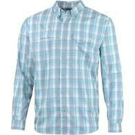 HUK Tide Point Woven Plaid Long Sleeve Silver Blue