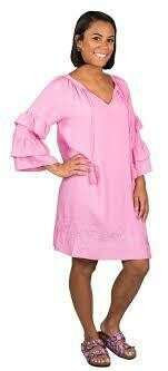 Simply Southern Embroidered Dress Pink