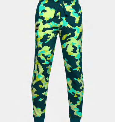 Under Armour Boys' Rival Fleece Printed Joggers Blackout Teal/Onyx White