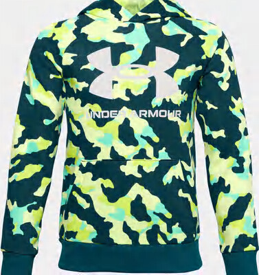 Under Armour Boys' UA Rival Fleece Printed Hoodie Blackout Teal/Onyx White