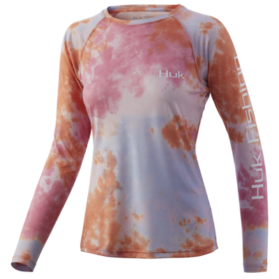Huk Womens Tie Dye Pursuit Coral