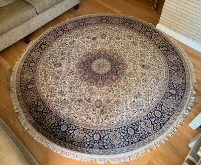 Heavy 8ftRound Hand Knotted Wool Rug India