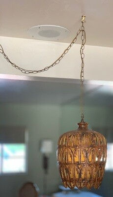 MCM Vintage Pierced Ceramic Hanging Swag Lamp