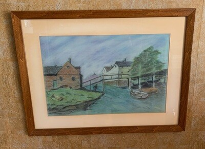 *Original* Art Pastel Sm Boat at Dock