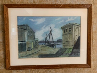 *Original* Art Pastel Lg Boat at Dock