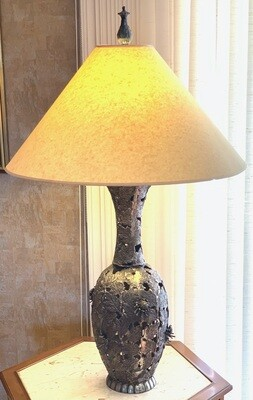 Vintage Leaf & Flower Metal Lamp Artist made