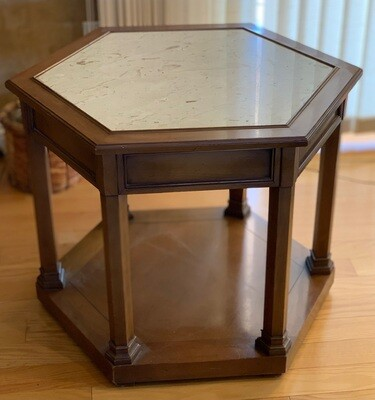 Vintage Walnut & Stone Polygon End Table