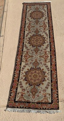 10ft Pakistan Hand Knotted Fine Rug Runner