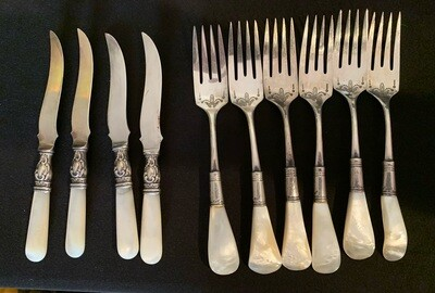 10pc Antique Mother of Pearl Fork & Knife Set Sterling
