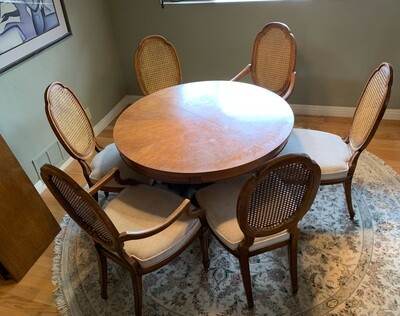 Vintage Walnut Drexel Heritage Dining Table w/ 6 Chairs